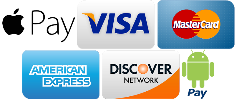 We accept Apple Pay, VISA, Mastercard, Amex, Discover and Android Pay